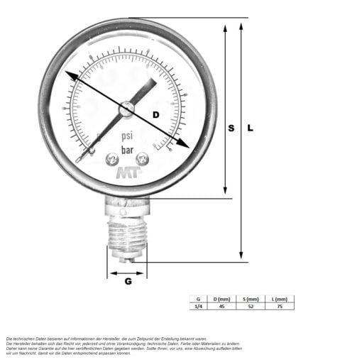 Pressure gauge - Diameter 50 mm (without glycerine filling)   BLUE GOLD Watermakers